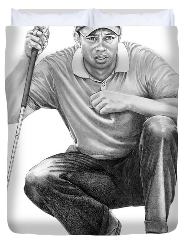 Pencil Duvet Cover featuring the drawing Tiger Woods Crouching Tiger by Murphy Elliott