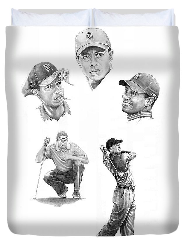 (tiger Woods) Duvet Cover featuring the drawing Tiger Woods- Full Circle by Murphy Elliott