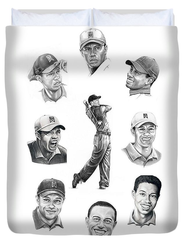Tiger Woods Duvet Cover featuring the drawing Tiger Woods-murphy Elliott by Murphy Elliott