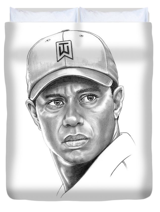Tiger Woods Duvet Cover featuring the drawing Tiger Woods by Murphy Elliott