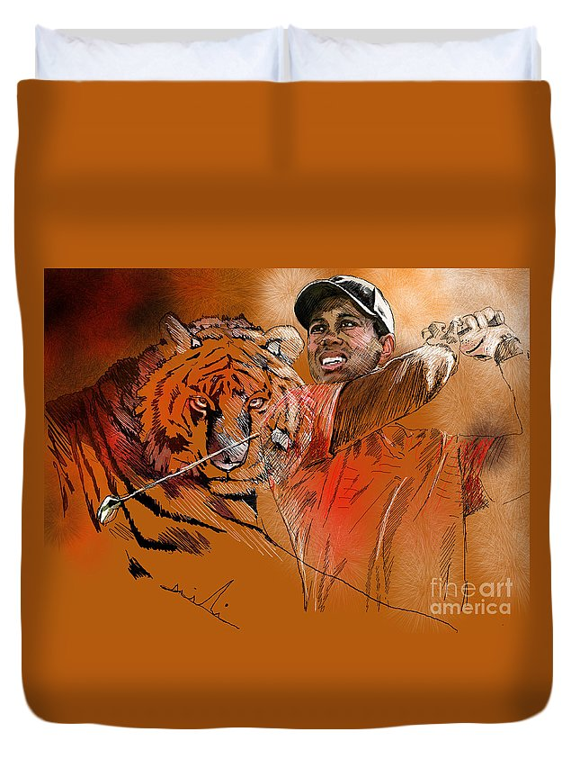 Golf Art Painting Portrait Tiger Woods Aninla Tiger Duvet Cover featuring the painting Tiger Woods Or Earn Your Stripes by Miki De Goodaboom