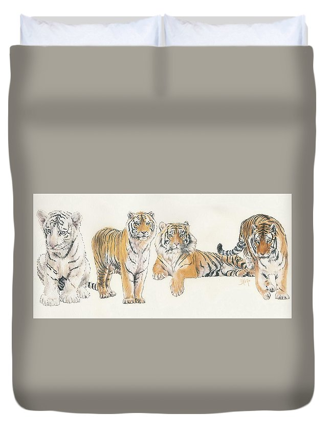 Tiger Duvet Cover featuring the mixed media Tiger Wrap by Barbara Keith