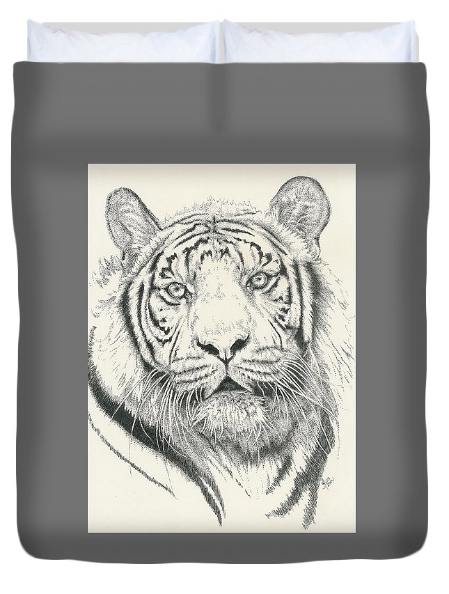 Tiger Duvet Cover featuring the drawing Tigerlily by Barbara Keith