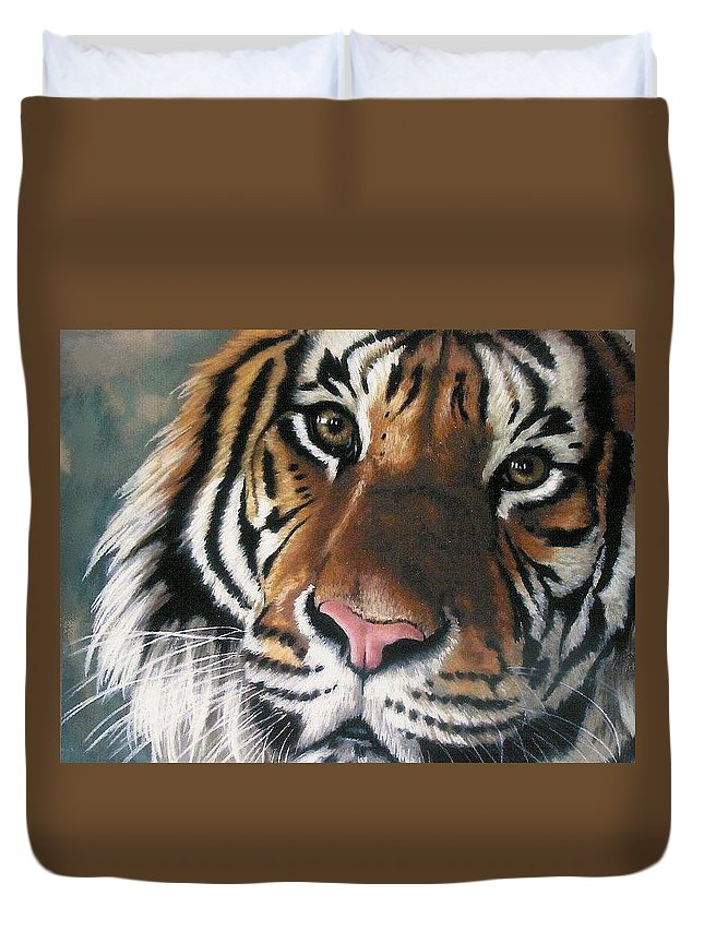 Tiger Duvet Cover featuring the pastel Tigger by Barbara Keith