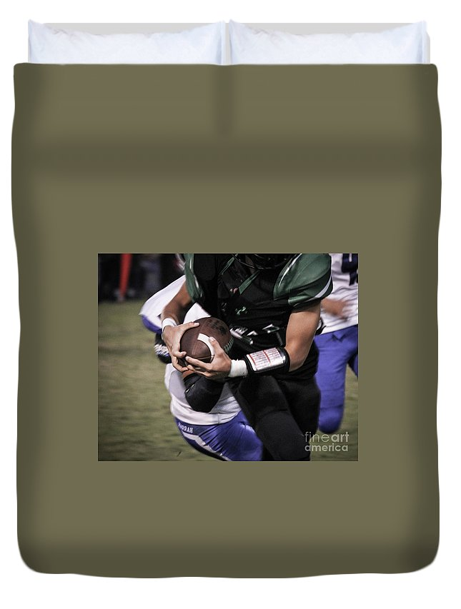 Football Duvet Cover featuring the photograph Tight Grip by Laura Deerwester