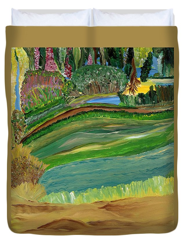 Landscape Duvet Cover featuring the painting Tight Knit Community by Sara Credito