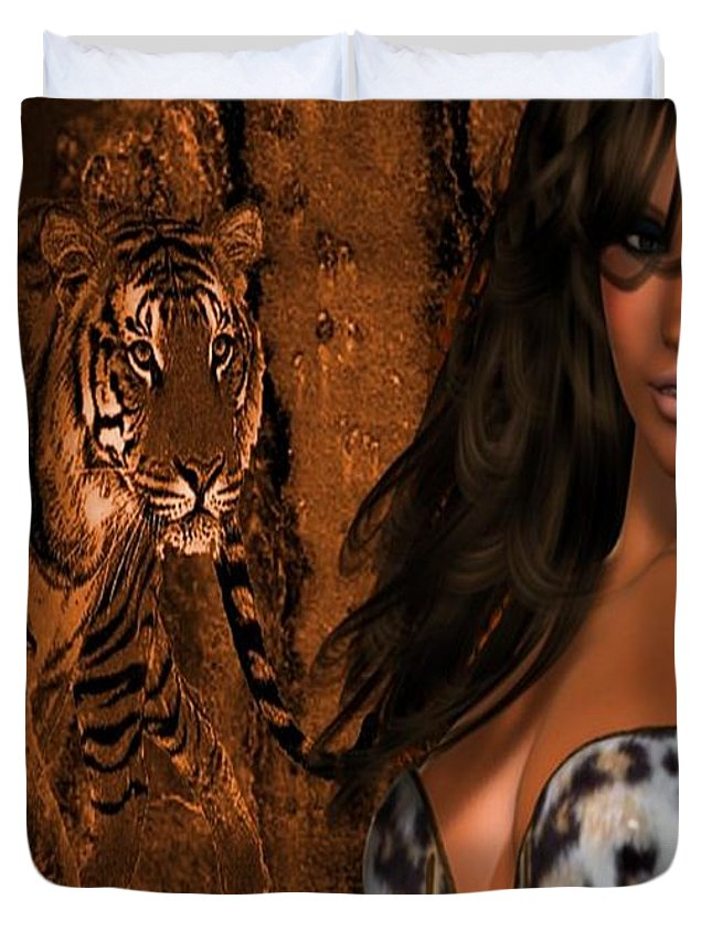 Digital Duvet Cover featuring the photograph Tigress # 2 by G Berry