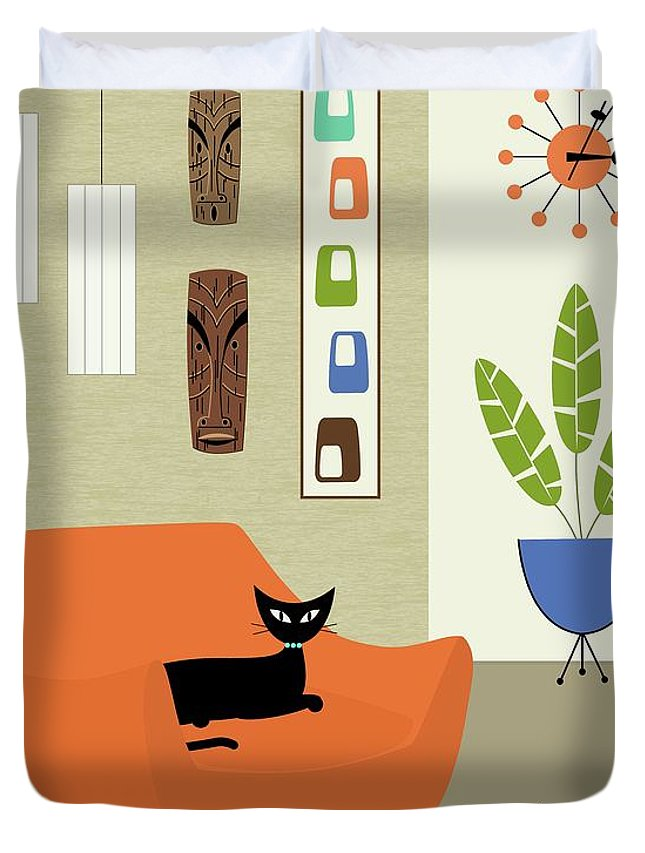 Tiki Duvet Cover featuring the digital art Tikis On The Wall by Donna Mibus