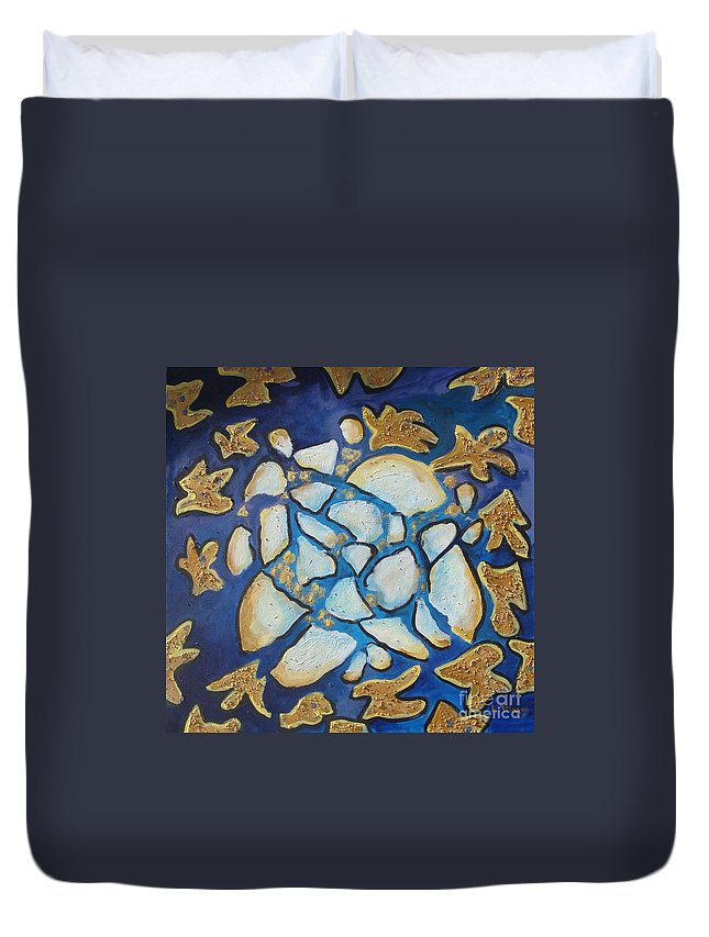 Abstract Duvet Cover featuring the painting Tikkun Olam Heal The World by Laurie Morgan