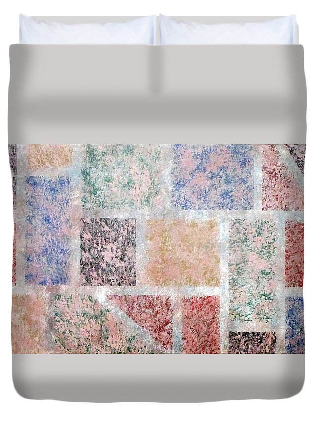 Tile Abstract Duvet Cover featuring the painting Tile Splash by Ken Irrgang