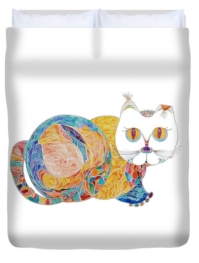 Cat Duvet Cover featuring the painting Tillie by Peggy Guichu