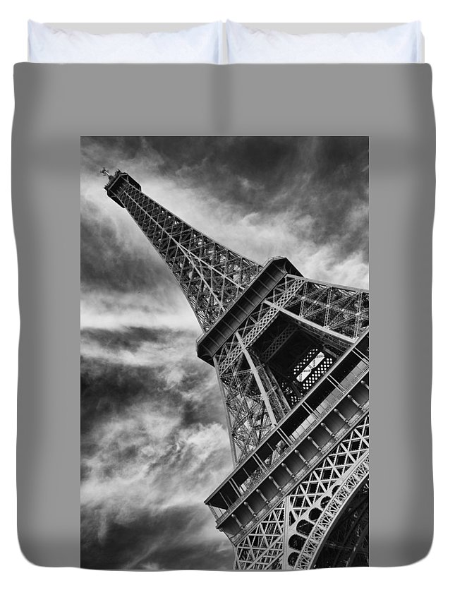 Eiffel Tower Duvet Cover featuring the photograph Tilted Tower by Lori Seebeck