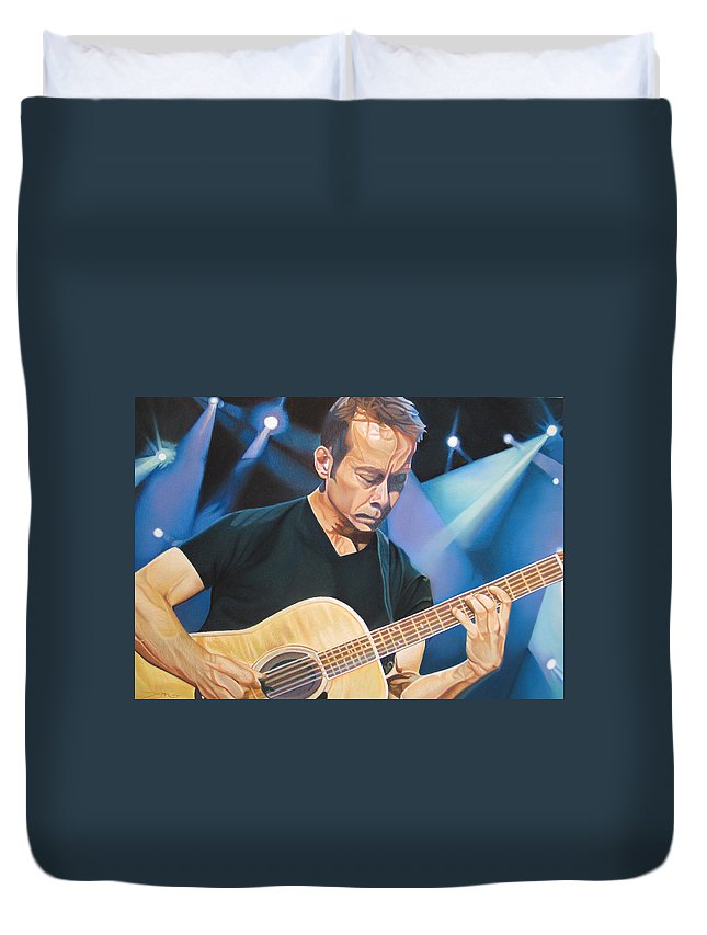 Tim Reynolds Duvet Cover featuring the drawing Tim Reynolds And Lights by Joshua Morton