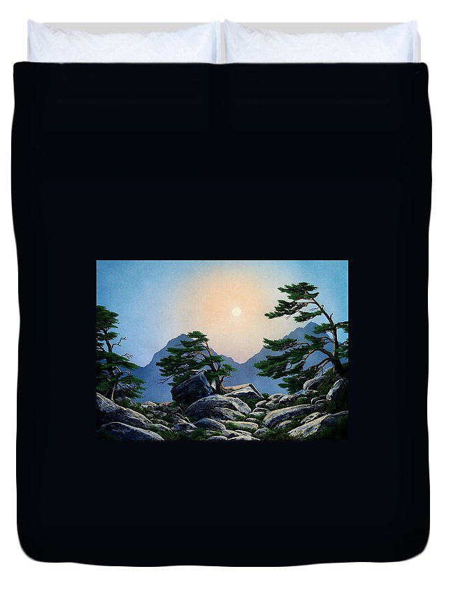 Timberline Guardians Duvet Cover featuring the painting Timberline Guardians by Frank Wilson