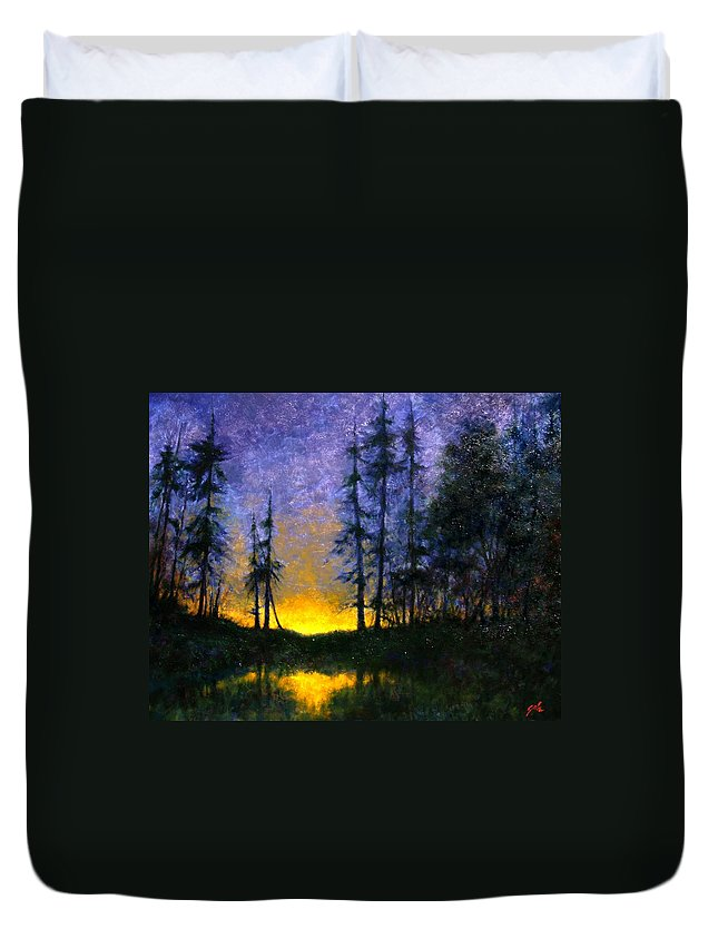 Landscape. Nocturn Duvet Cover featuring the painting Timberline by Jim Gola