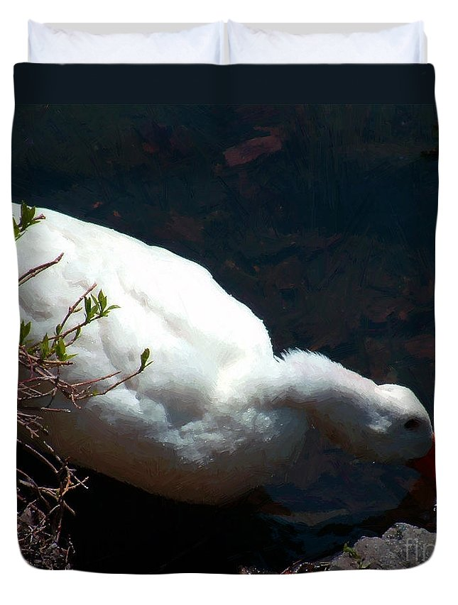 Duck Duvet Cover featuring the painting Time For A Drink by RC DeWinter