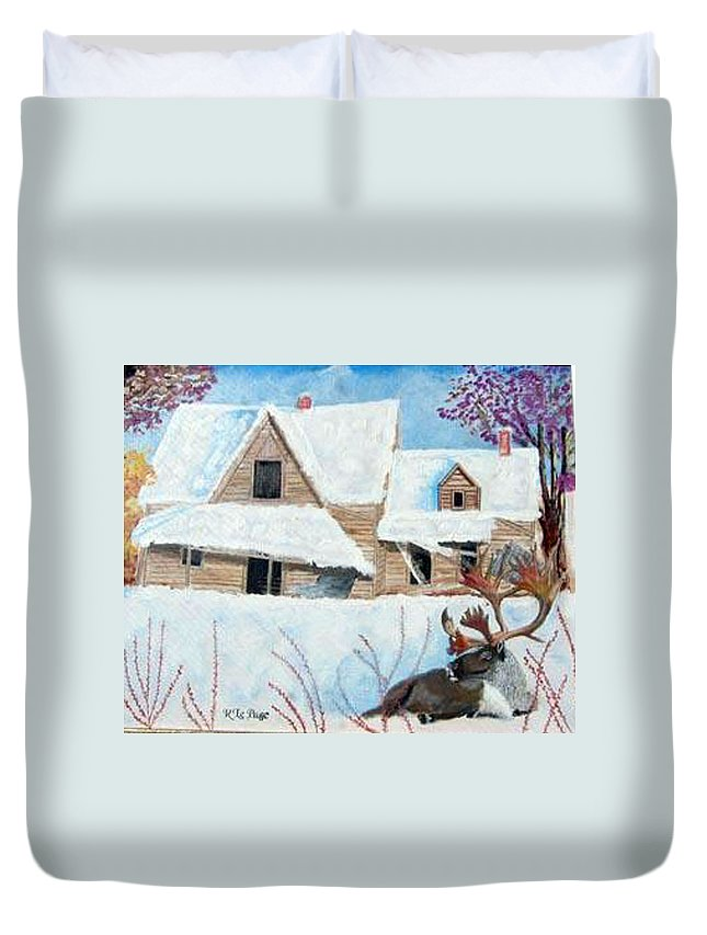 Caribou Duvet Cover featuring the painting Time For A Rest by Richard Le Page