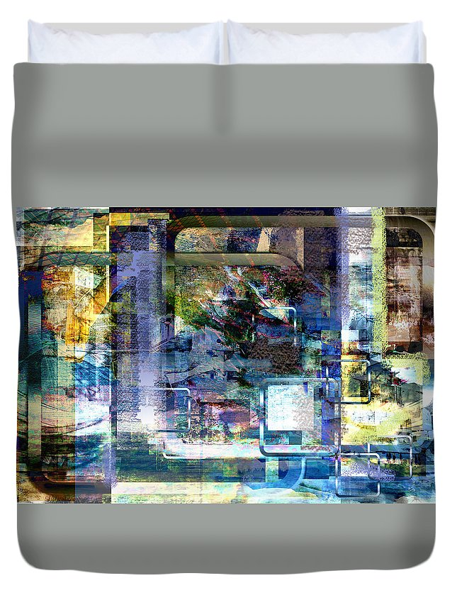 Abstract Duvet Cover featuring the digital art Time Framing by Art Di