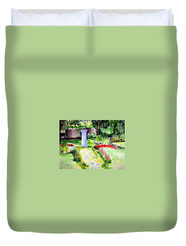 Park Duvet Cover featuring the painting Time In A Garden by Sandy Ryan