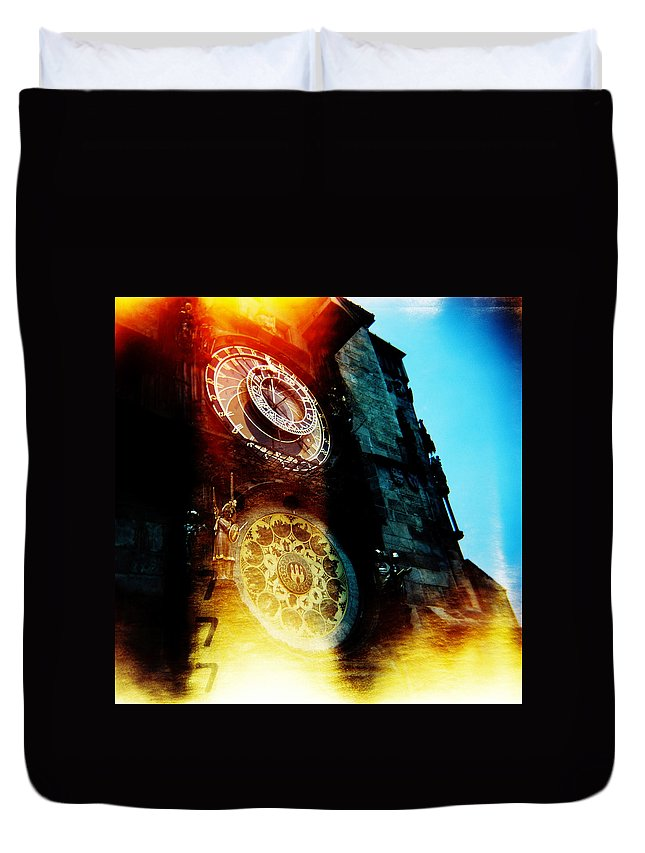 Clock Time Holga Color Photograph Praha Duvet Cover featuring the photograph Time is burning by Olivier De Rycke