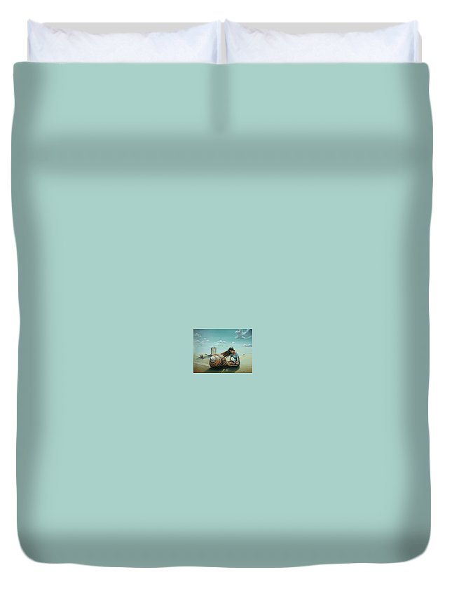Time Duvet Cover featuring the painting Time Of The Snail by Gregor Ziolkowski