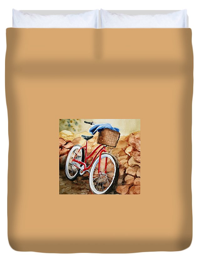 Bicycle Duvet Cover featuring the painting Time Out by Karen Stark