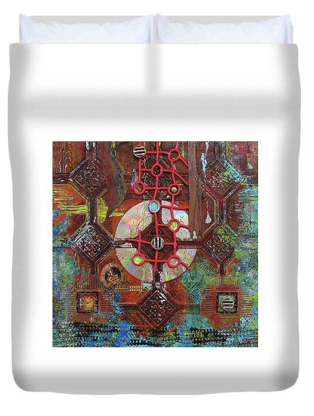 Assemblage Painting Duvet Cover featuring the painting Time Passage II by Elaine Booth-Kallweit
