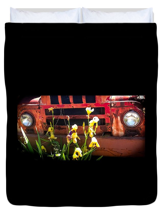 Vintage Rust Cars Duvet Cover featuring the photograph Time Sings A Melody by Karen Wiles