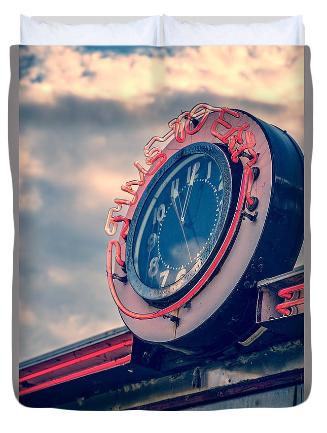 Quechee Duvet Cover featuring the photograph Time To Eat Neon Diner Clock by Edward Fielding
