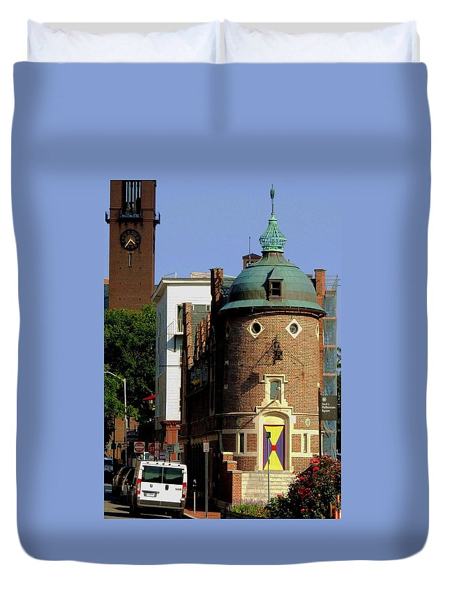 Building With Face Duvet Cover featuring the photograph Time To Face The Harvard Lampoon by Vincent Green
