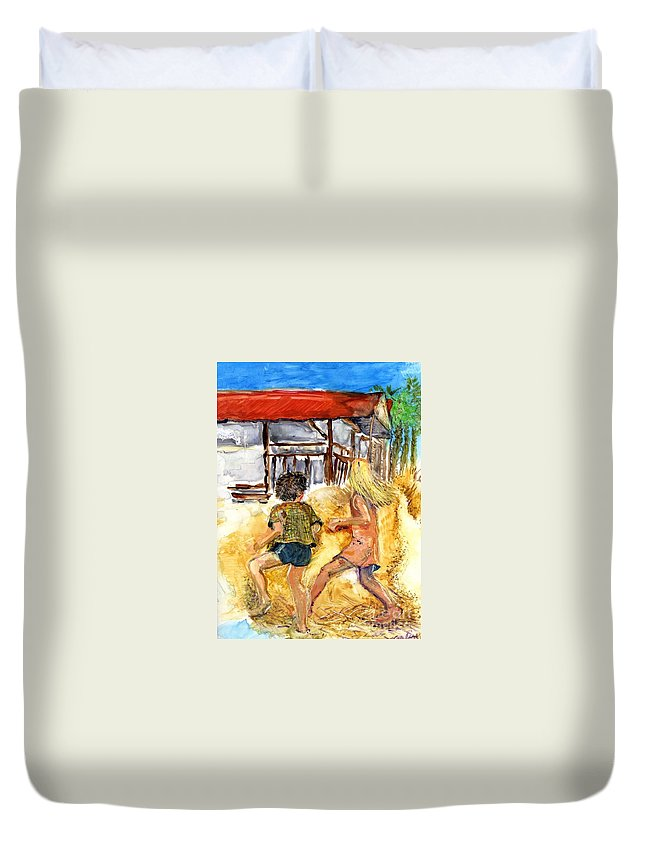Beach Duvet Cover featuring the painting Time To Go by Carliss Prosser