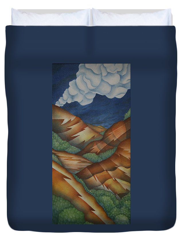 Mountains Duvet Cover featuring the painting Time To Seek Shelter by Jeniffer Stapher-Thomas