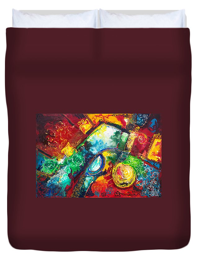 Abstract Contemporary Time Duvet Cover featuring the painting Time Warp by Sally Trace