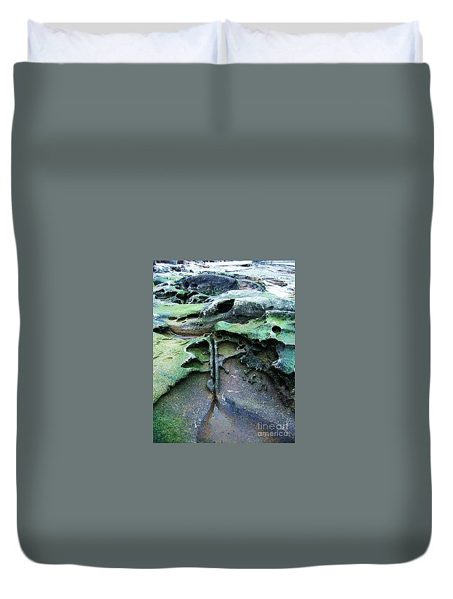 Photograph Rock Beach Ocean Duvet Cover featuring the photograph Time Washed Out by Seon-Jeong Kim