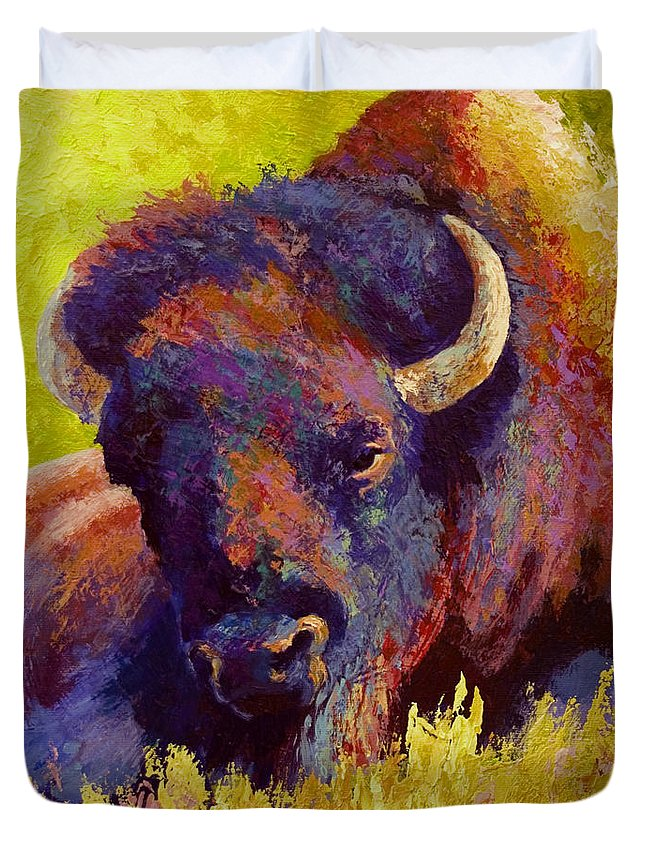 Bison Duvet Cover featuring the painting Timeless Spirit by Marion Rose