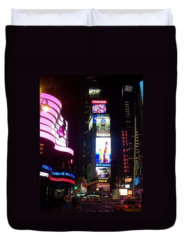 Times Square Duvet Cover featuring the photograph Times Square 1 by Anita Burgermeister