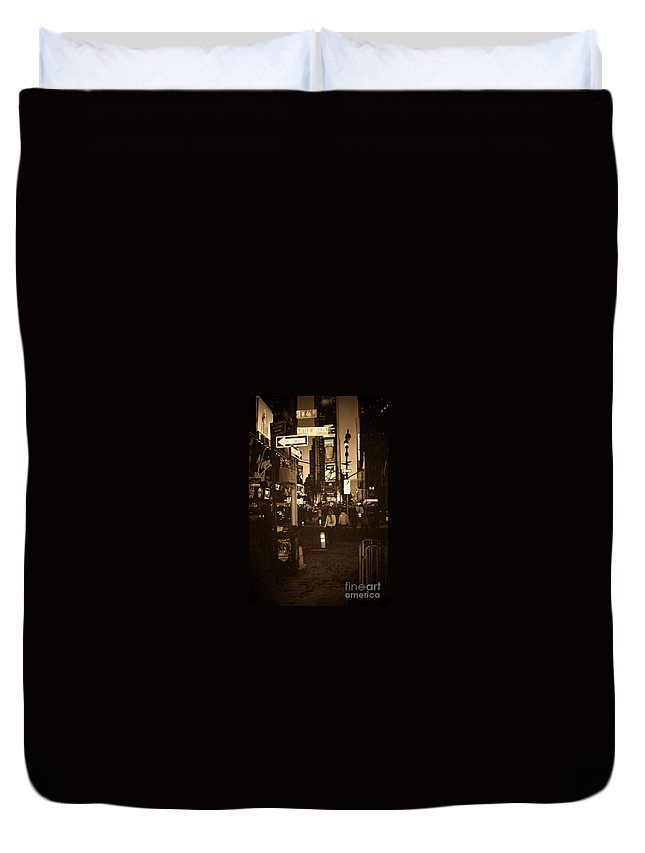 New York Duvet Cover featuring the photograph Times Square by Debbi Granruth