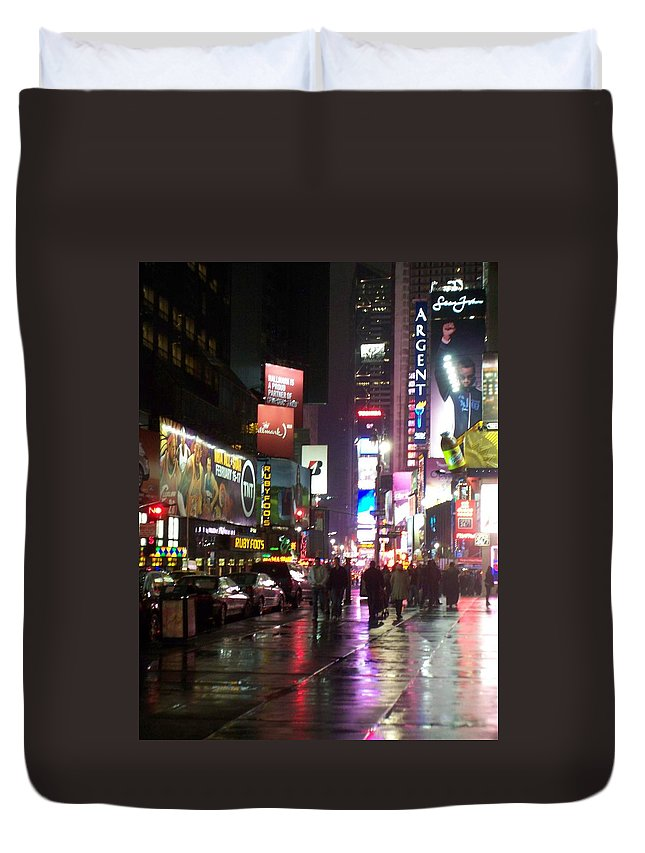 Times Square Duvet Cover featuring the photograph Times Square In The Rain 1 by Anita Burgermeister