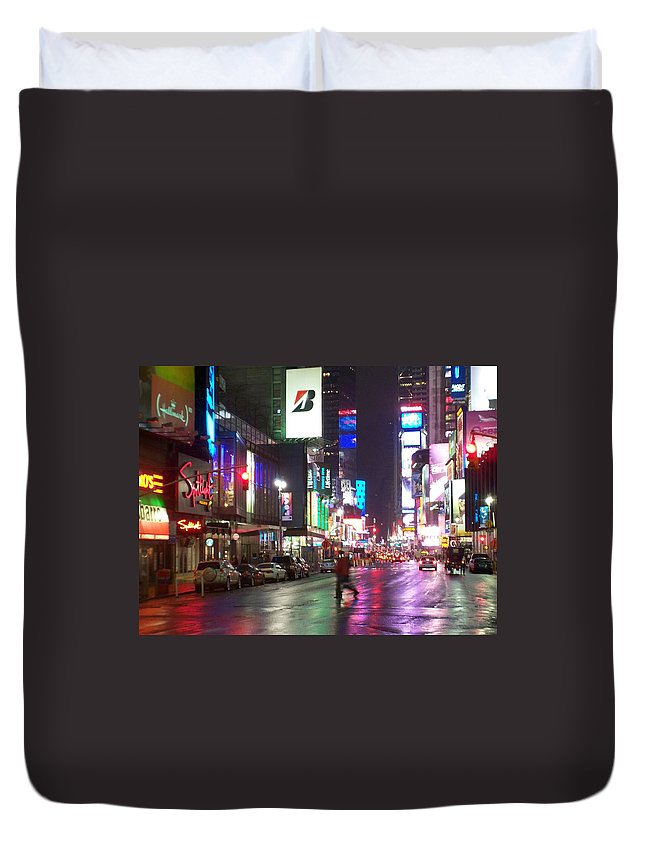 Times Square Duvet Cover featuring the photograph Times Square In The Rain 2 by Anita Burgermeister