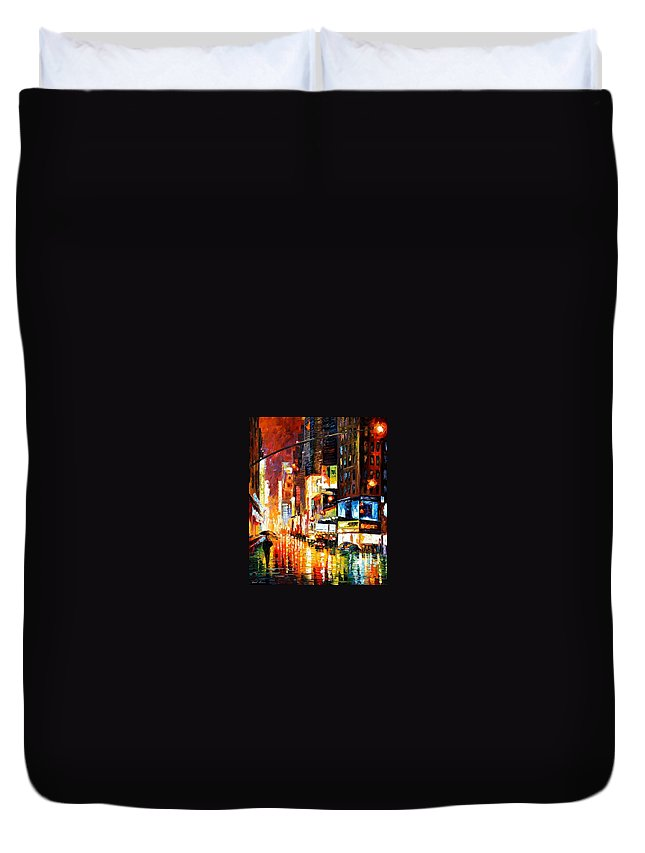 City Duvet Cover featuring the painting Times Square by Leonid Afremov