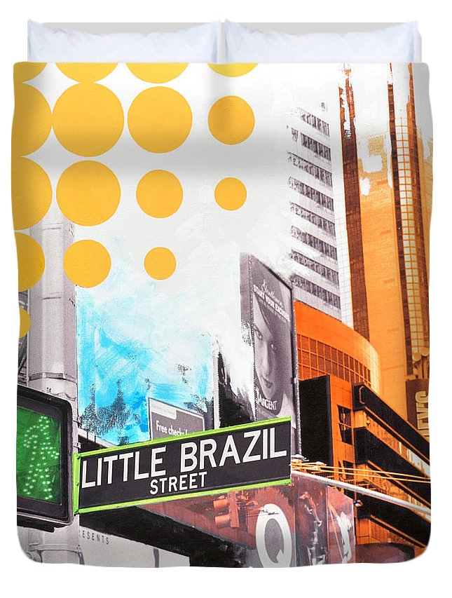 Ny Duvet Cover featuring the painting Times Square Little Brazil by Jean Pierre Rousselet