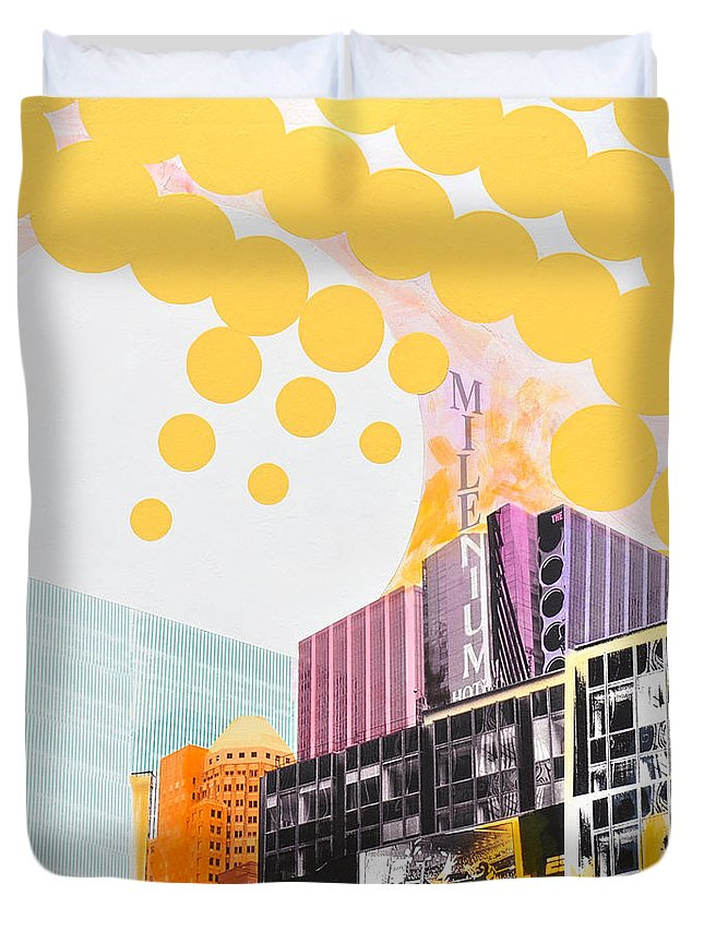 Ny Duvet Cover featuring the painting Times Square Milenium Hotel by Jean Pierre Rousselet