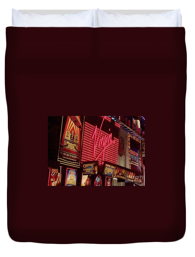 Times Square Duvet Cover featuring the photograph Times Square Night by Debbi Granruth
