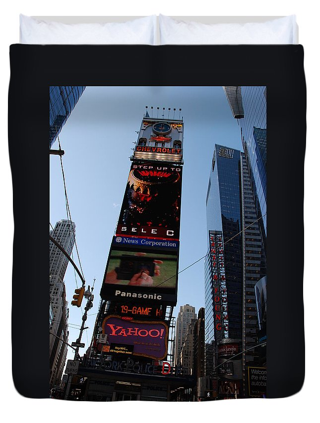 Times Square Duvet Cover featuring the photograph Times Square by Rob Hans