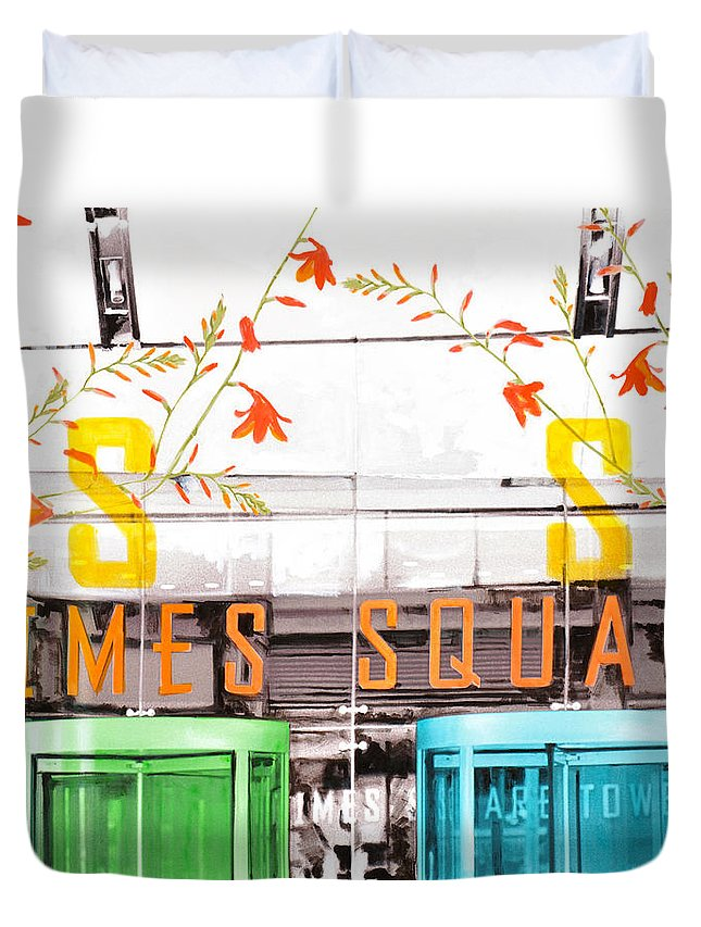 Ny Duvet Cover featuring the painting Times Square Tower by Jean Pierre Rousselet
