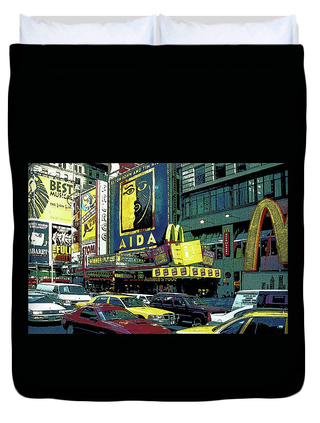 Nyc Duvet Cover featuring the photograph Times Square Visitors Center by Guy Harnett