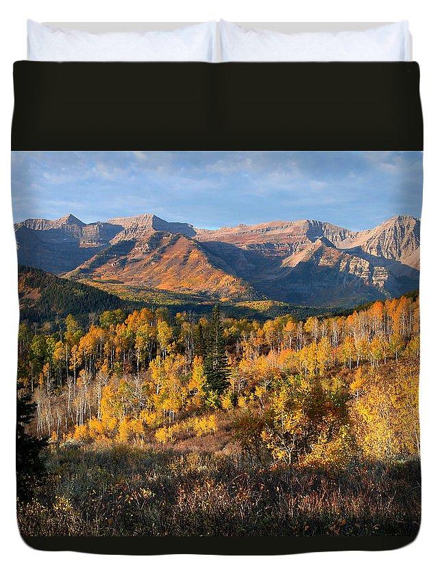Timpanogos Duvet Cover featuring the photograph Timpanogos Autumn Sunrise by Brett Pelletier