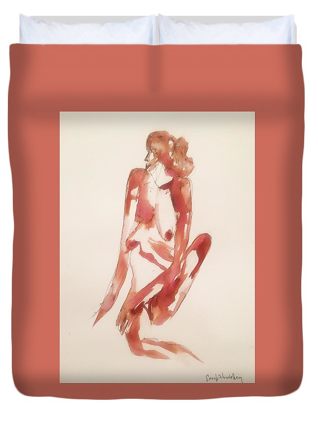 Model Duvet Cover featuring the painting Sunday by Carol Schindelheim