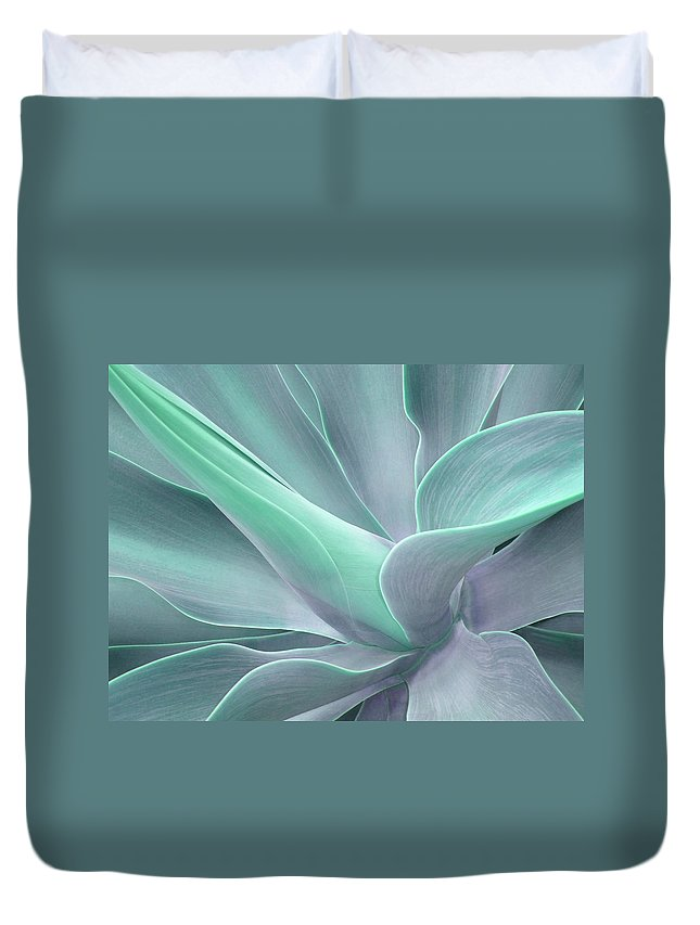 Agave Duvet Cover featuring the photograph Tinted Agave Attenuata Abstract by Bel Menpes