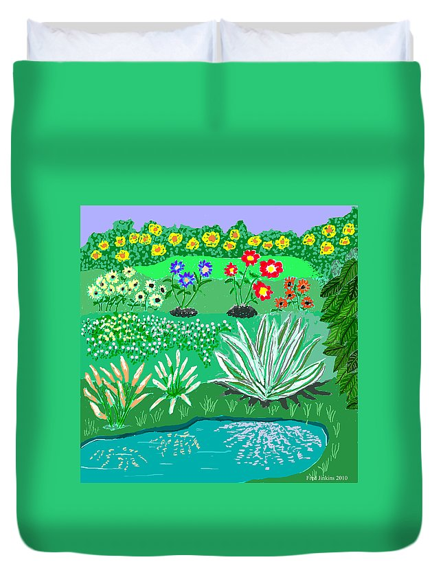 Floral Duvet Cover featuring the painting Tiny Garden by Fred Jinkins